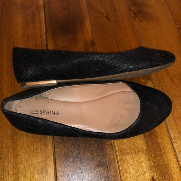 Call it Spring Black Flats Shoes